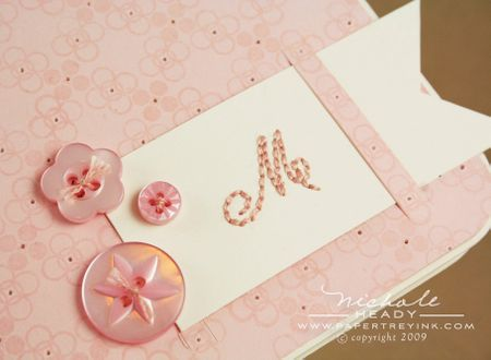 Embellished monogram closeup