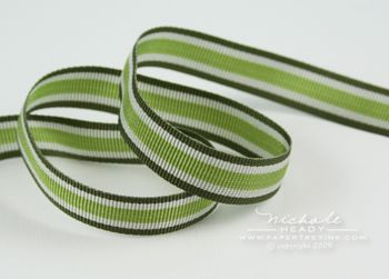 Smokey Green Stripes ribbon