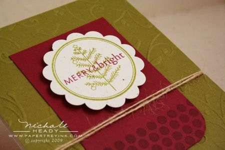 Merry & bright card closeup