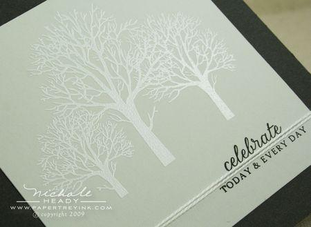 White embossed trees closeup