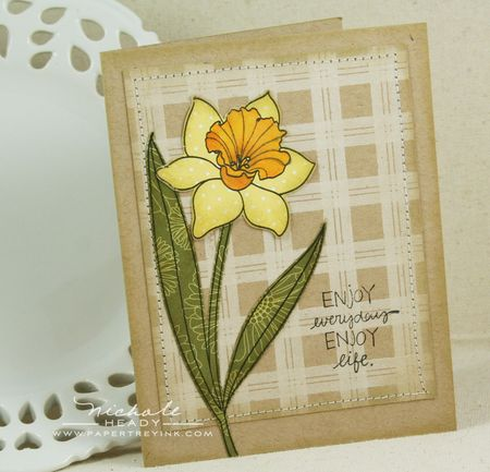 Plaid daffodil card