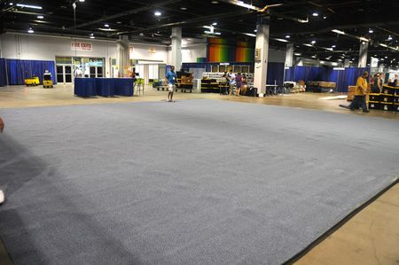 Set up carpet rolled out