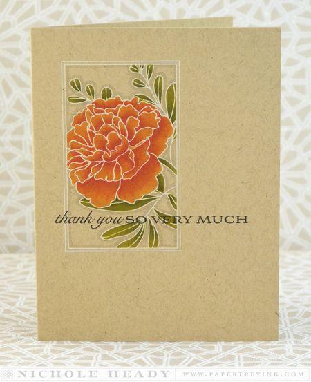Orange Peony Card