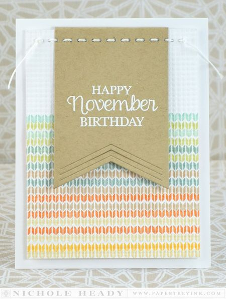 Knit November Birthday Card