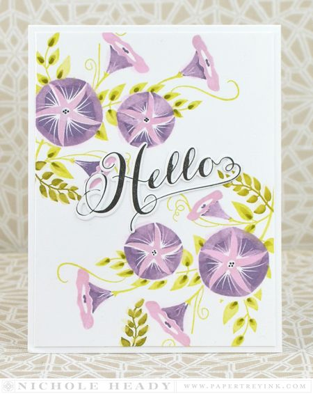 Hello Morning Glories Card