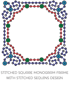 Monogram Frame w Sequins Square