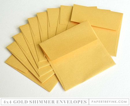 4x4 Gold Shimmer Envelopes